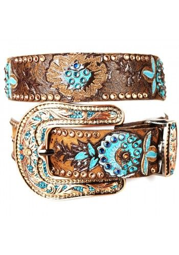 Kippy Belt with inlay crystal pave buckle - #CowgirlChic