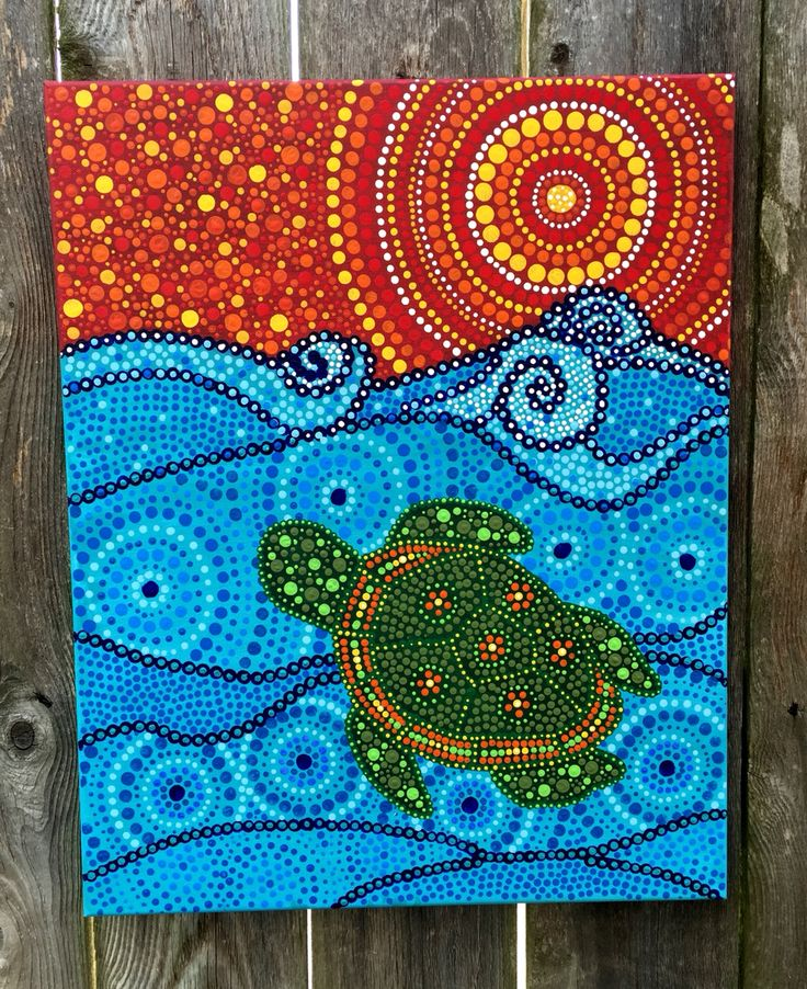 Acrylic on canvas original artwork Turtle Ocean Pointillism Dot painting