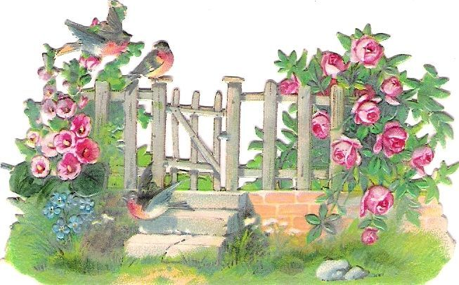 Oblaten Glanzbild scrap die cut chromo Vogel bird oiseau Garten Zaun fence rose
