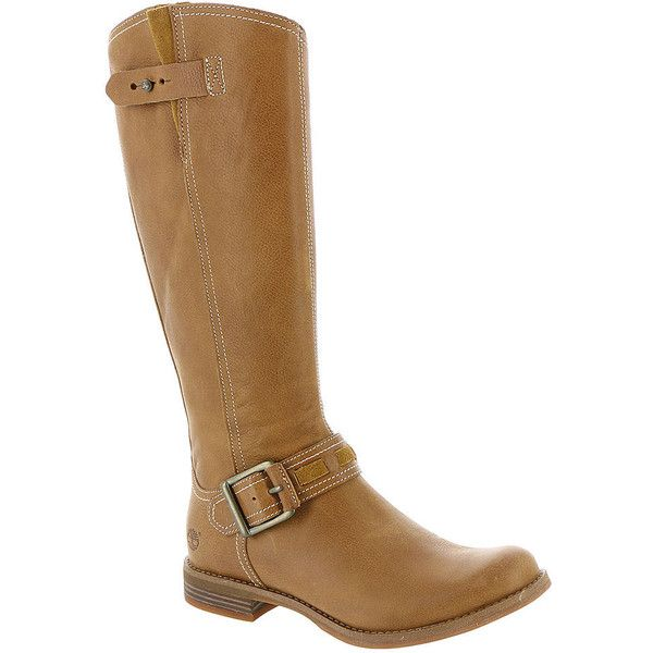 Timberland EK SAVIN HILL TALL Women's Tan Boot 6 W ($168) ❤ liked on Polyvore featuring shoes, boots, tan, timberland knee high boots, low heel boots, low heel tall boots, side zip boots and tall boots