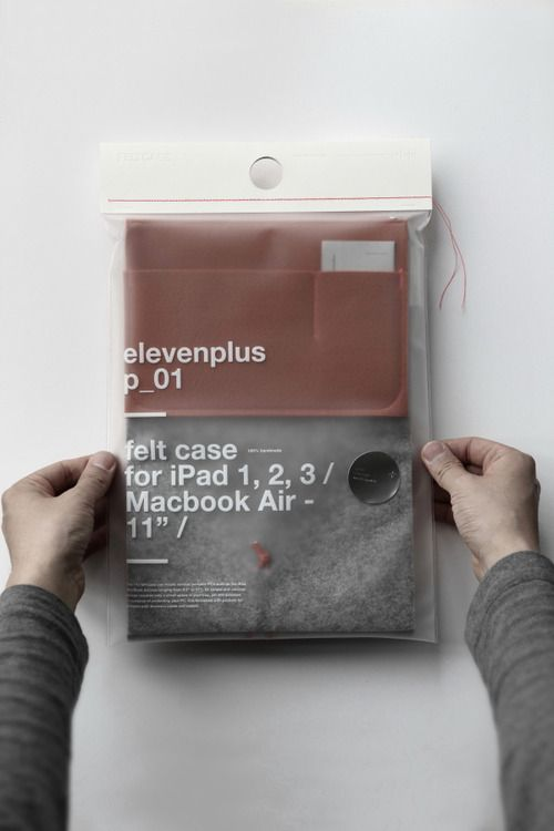 Felt Mac case packaging - see through with simple white pad print