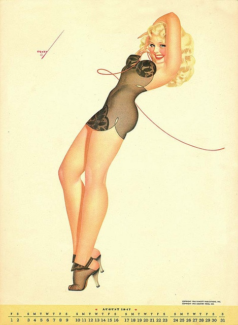A George Petty pin up calendar, august 1947.