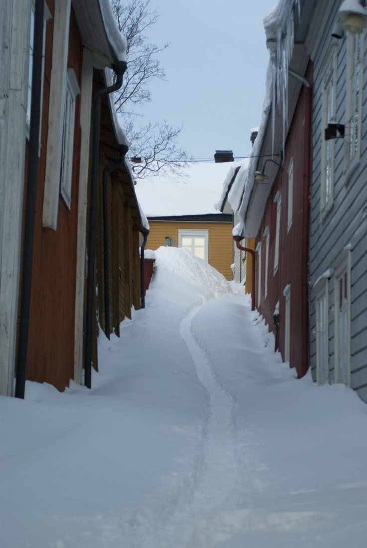Winter in Porvoo Old Town - null