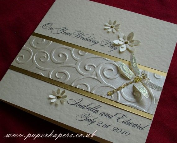Wedding Card - Congratulations - Sparkly Dragonfly - Ivory ,Pearl and Gold - Personalised