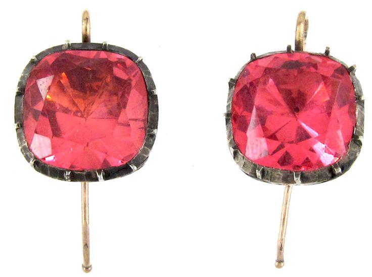Georgian Pink Paste Earrings - The Antique Jewellery Company