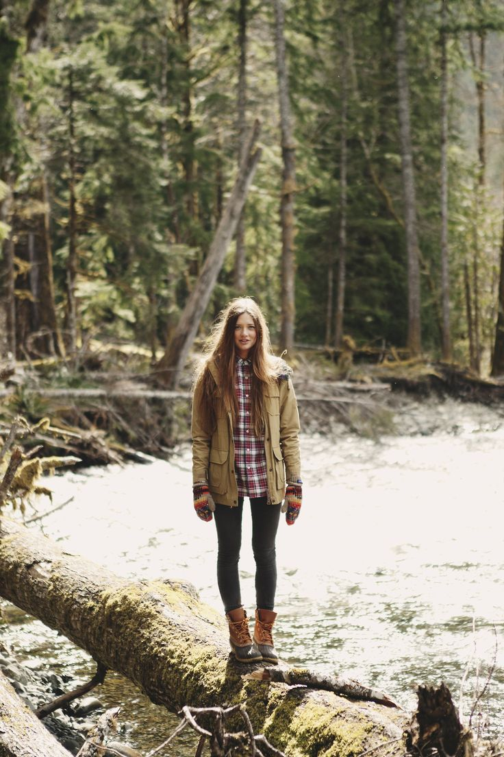 flannel, parka and bean boots