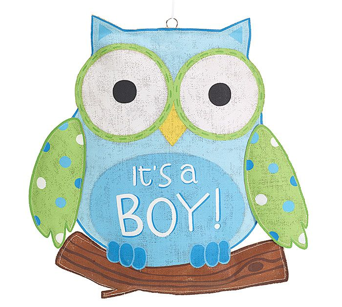"Celebrate the arrival of a baby boy with this #burtonandburton burlap shaped owl with ""It's a BOY!"" message! #baby #owl"