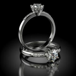 Inel de logodna Lux cu diamante Nixon din aur alb