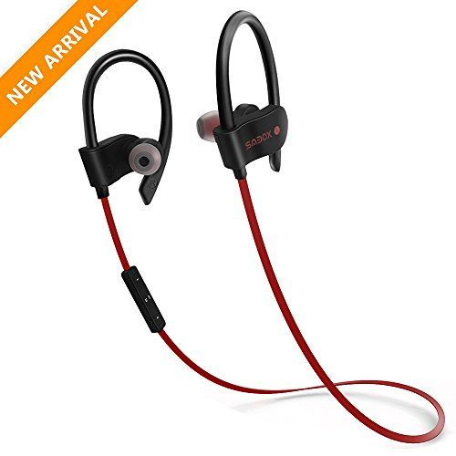 Bluetooth HeadphonesSMBOX Bluetooth Sports Earbuds with Built in Mic Wireless Gym Earphones Sweat/Waterproof Stereo In-Ear Earphone Headset for Running and Workout Red