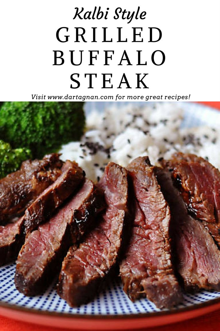 Kalbi Style Grilled Buffalo Steak - Create the smoky sweet flavors of your favorite Korean hibachi restaurant at home with this super easy recipe.