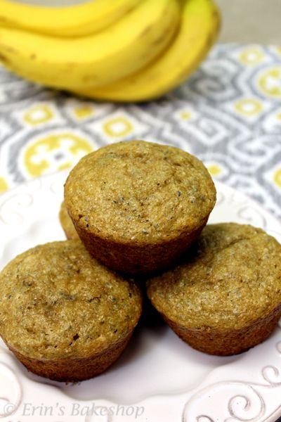 Banana Chia Seed Muffins made with healthy ingredients.
