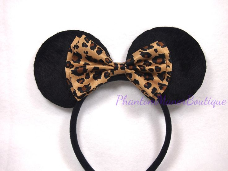 Minnie Mouse Ears - Brown Leopard Bow Cheetah Spots Headband Rockabilly 50's Pin Up Animal Print Mickey by PhantomManorBoutique on Etsy https://www.etsy.com/listing/203190905/minnie-mouse-ears-brown-leopard-bow