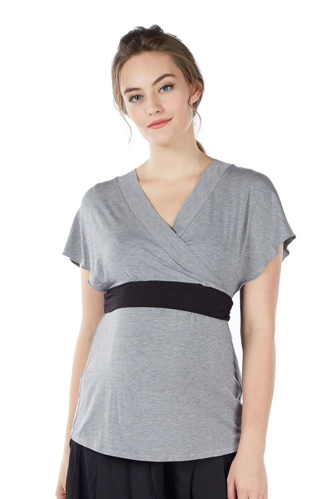 477ed887d44cc Obi Short Sleeve Bamboo Nursing Top (Heather Grey) - Please use coupon code  NewArrivals15 to receive 15% off these items. To receive the discount, ...
