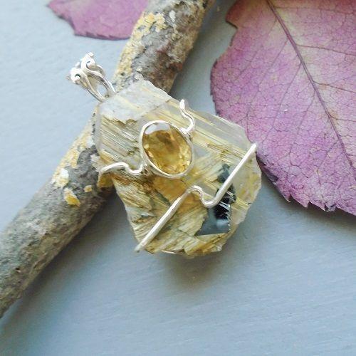 Rutilquarz Druse & Citrin, Anhänger, 925 Sterling Silber in Uhren & Schmuck, Echtschmuck, Halsketten & Anhänger   eBay!