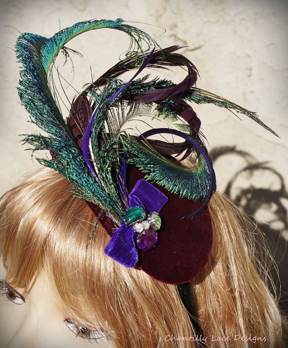 Purple Velvet Peacock Pheasant Feather by ChantillyLaceDesigns