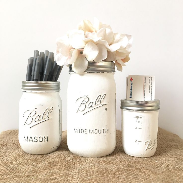 gifts for coworkers rustic desk storage, Rustic Mason jar desk set, cute desk accessories for women, office gifts for women by VivasFlowerShop on Etsy