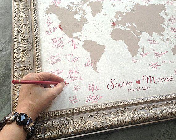 Wedding Guest Book Alternative World Map    by HereandThereShop, $160.00