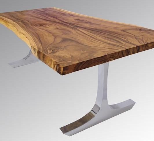 Modern Table, T Base Design, Live Edge, Natural Wood Dining By Woodland  Creek