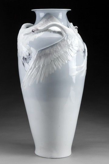 Karl Lindstrom. Large under glazed vase with applied decoration in relief of Japanese cranes. Similar vase exhibited at the Turin world fair in 1902.