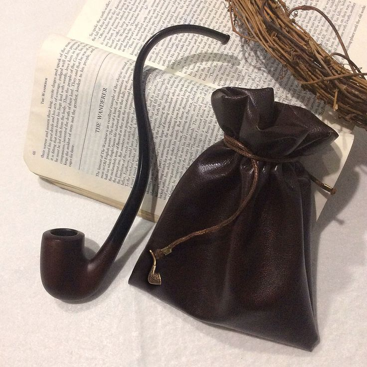"Handmade ""Strider"" dark leather pipe-weed pouch."