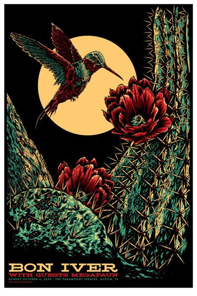 Beautiful Bon Iver screenprint from Ken Taylor.  The Paramount Theatre, Austin, 11/4/2009