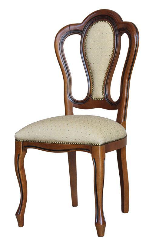 Sedia classica schienale imbottito - ArteFerretto Sedia classica dalla struttura solida ed elegante e dalle linee sinuose. La linea del fusto si fonde armoniosamente con l'inserto imbottito dello schienale