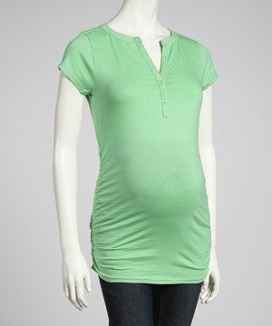 Another great find on #zulily! Oh! Mamma Sea Green Ruched Maternity Short-Sleeve Top - Women by Oh! Mamma #zulilyfinds