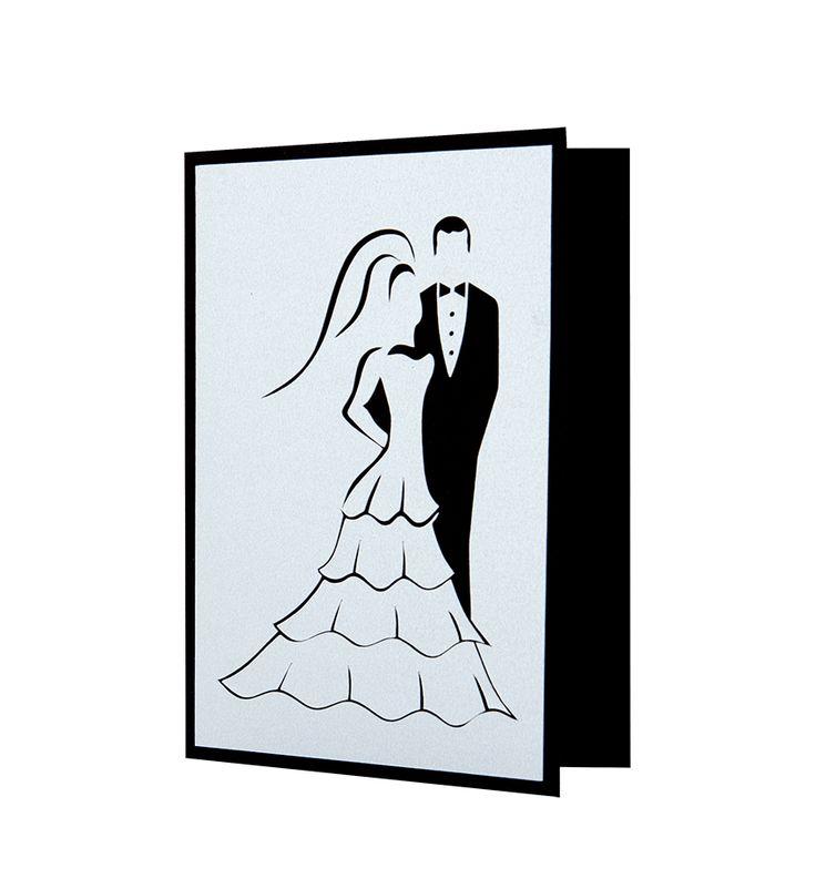 Invitatie nunta mire si mireasa cu modele realizate din carton aplicat manual in multiple straturi