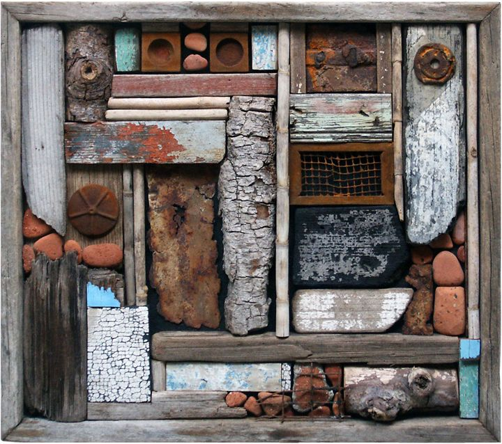 Ron Robertson Assemblage Art: BEACH WALK