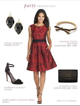 red and black jacquard dress outfit - Google Search