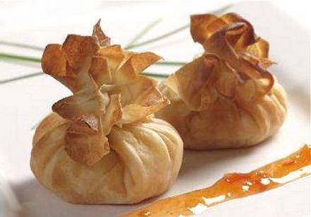 Surprise Beggar's Purses (camembert, pine nuts, Granny Smith) Recipe