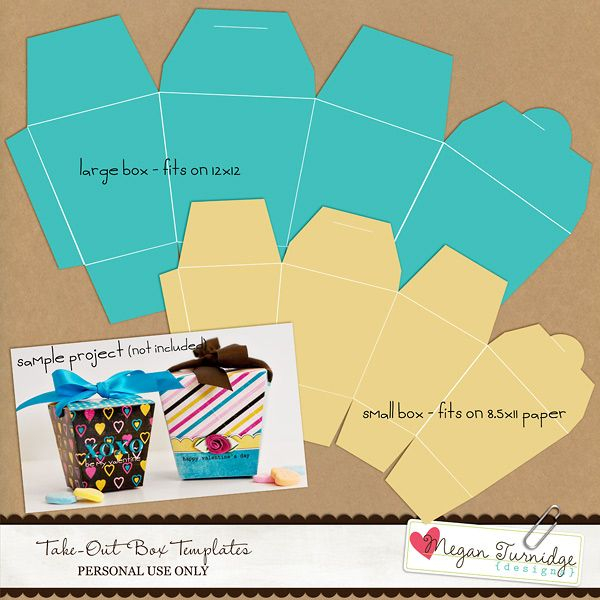 Take-Out Box Templates FREEBIE! « Designs by Megan Turnidge | Digital Scrapbooking and Crafting Blog