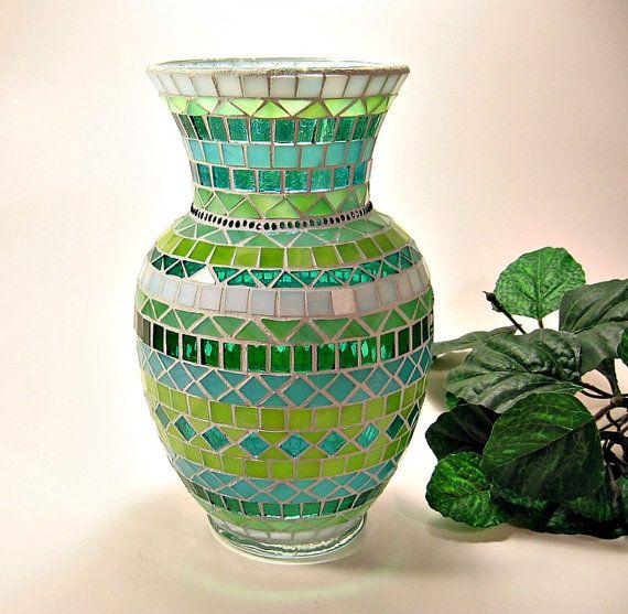 Stained glass mosaic vase teal aqua lime by threesisterscandles