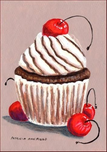 Chocolate Cherry Cupcake - Original Fine Art for Sale - � Patricia Ann Rizzo