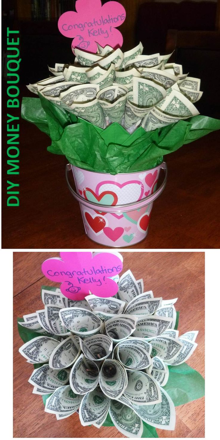 DIY Money Bouquet: Tissue paper, bamboo skewers, scotch tape, 1 foam ball, 1 small pot (I used a pail) -- all items came from Dollar Tree... and 30 $1 bills. Made an adorable baby shower gift.