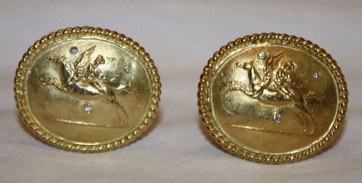 Stunning #antique 18k gold & #diamond pegasus #men's cufflinks ,  View more on the LINK: 	http://www.zeppy.io/product/gb/2/262793840079/