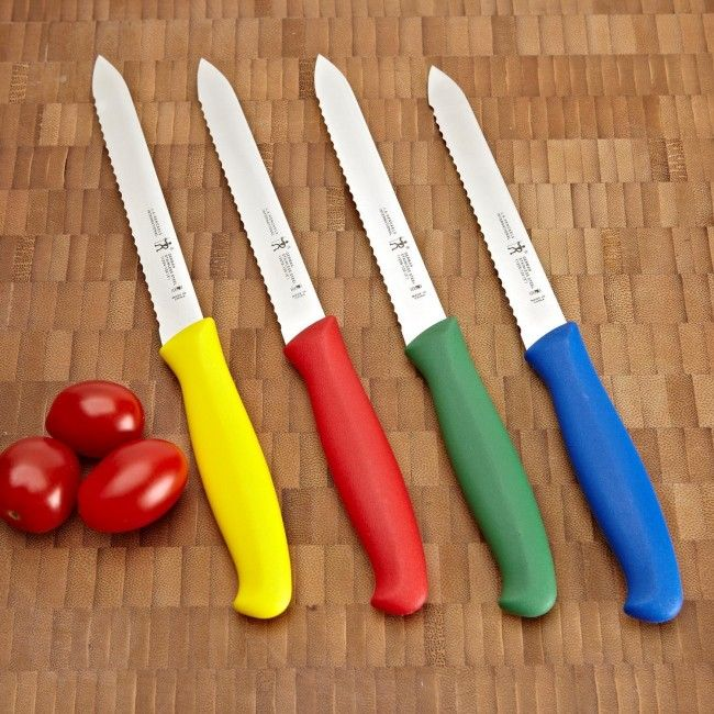 Easily cut thin slices of tomato or slice your bagel with the Henckels Kitchen Elements Brights Serrated Tomato & Bagel Knife.