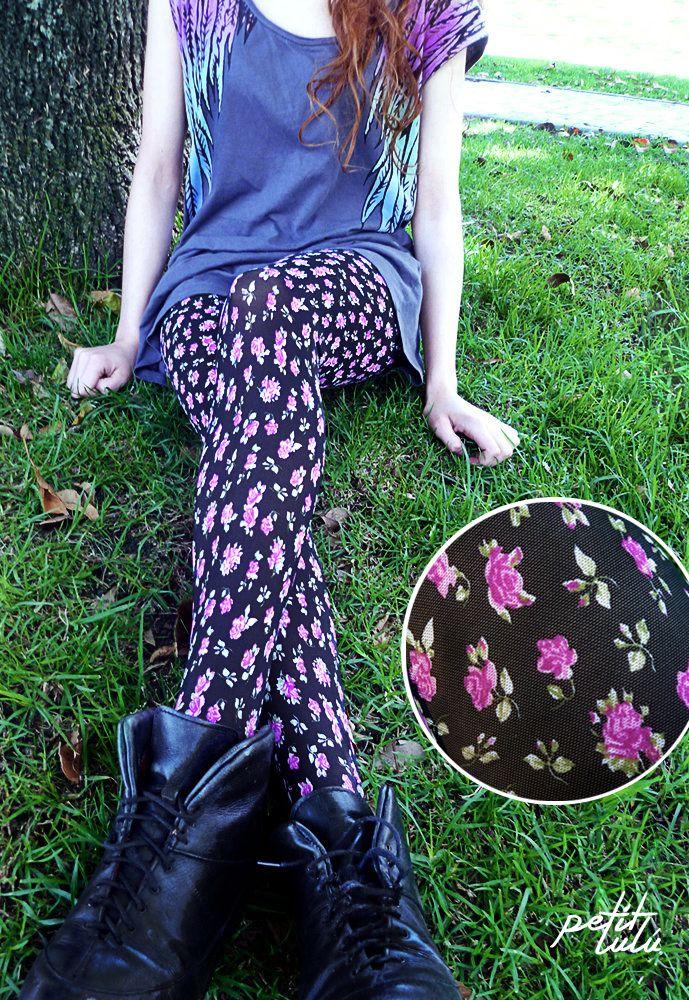 Medias 'California' de Petit Lulú. www.petitlulustor... #Colombia #Femenina #flowers #love #Outfit #Original #Trend #Closet #girly #piernas #retro #moda #fashion #pantimedias #tights #pantyhose #hosery #legs #piernas #medias #vintage #floral #retro #boho #cute
