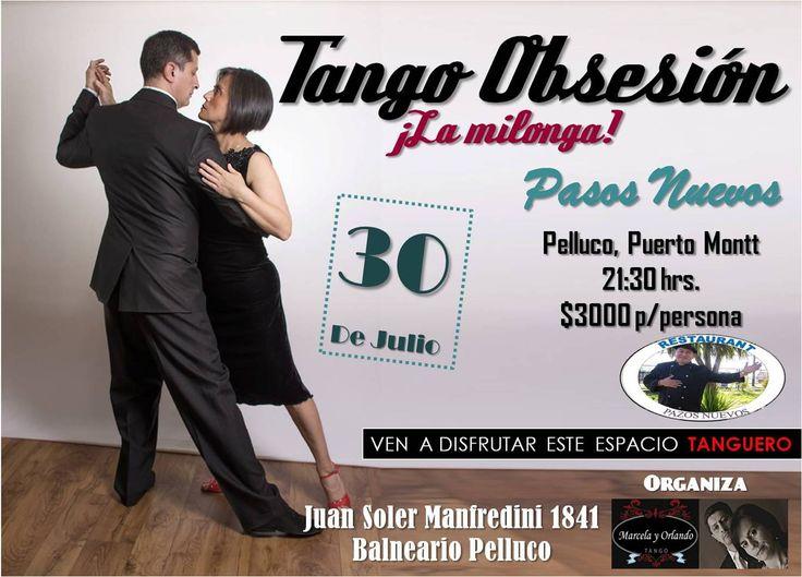 Afiche promocional de la Milonga Tango Obsesión de Julio 2016.