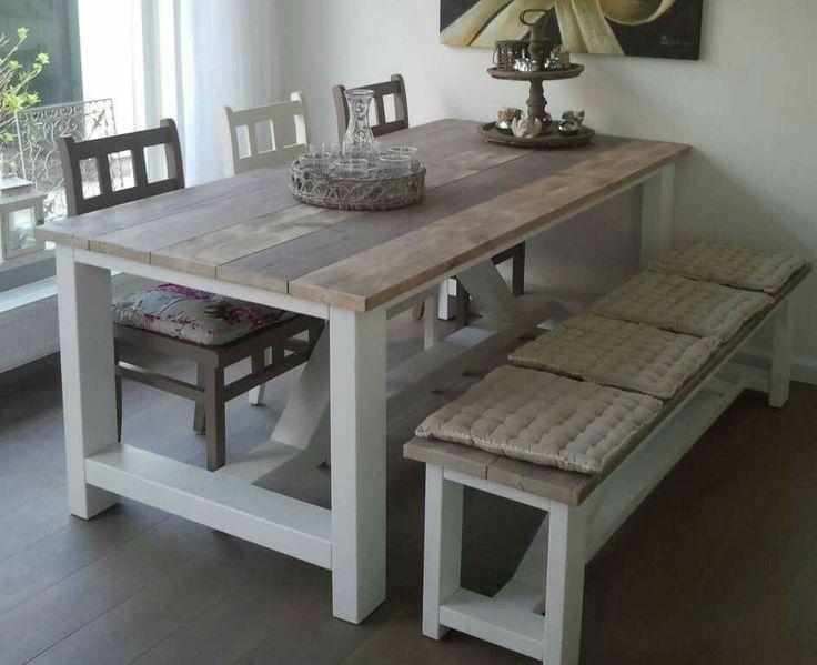 Mooie tafel en stoelen en bankje van steigerhout home sweet home pinterest van - Eettafel en houten eetkamer ...