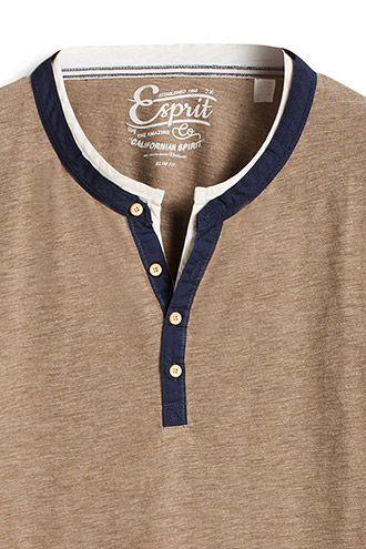 Esprit / T-shirt col tunisien, doux coton mélangé