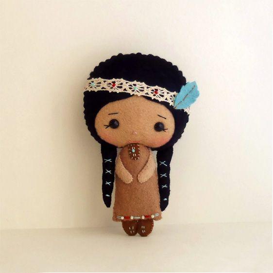 Kitschy Digitals :: Sewing & Needlework Patterns :: Native American Girl Felt Doll Pattern