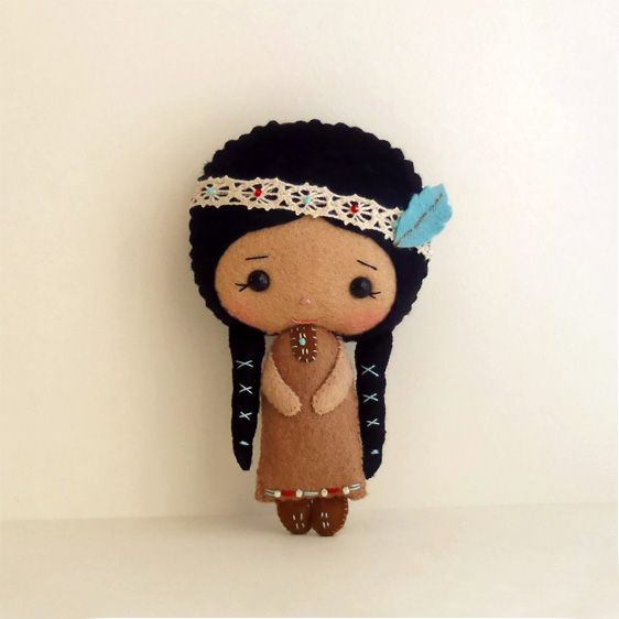 Kitschy Digitals :: Sewing & Needlework Patterns :: Native American Girl Felt Doll Pattern