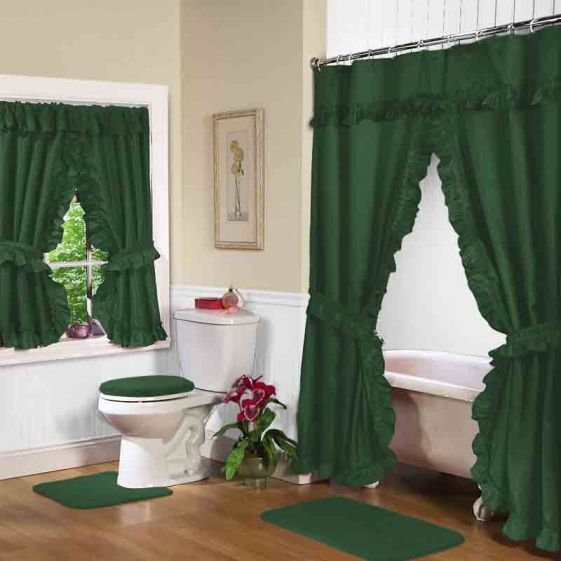 12 best images about double swag shower curtains and - Swag valances for bathroom windows ...
