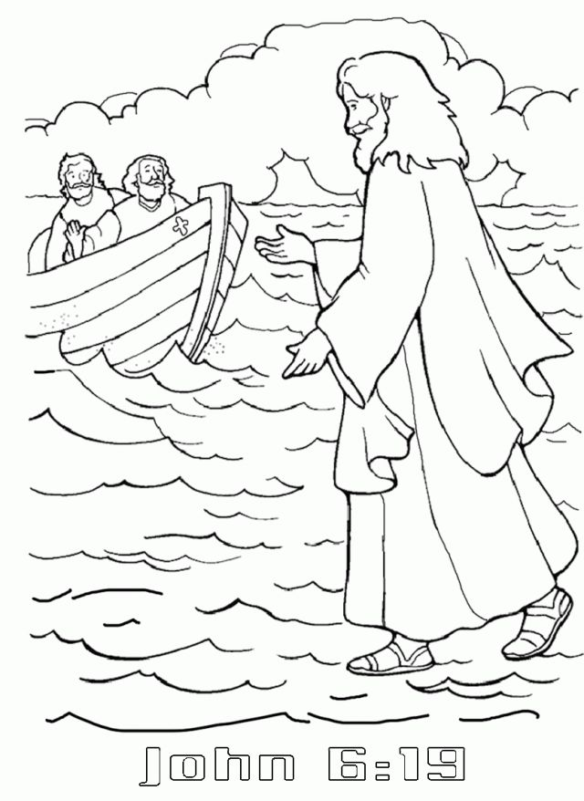 Jesus Walking On Water Coloring Page Coloring Pages Hello