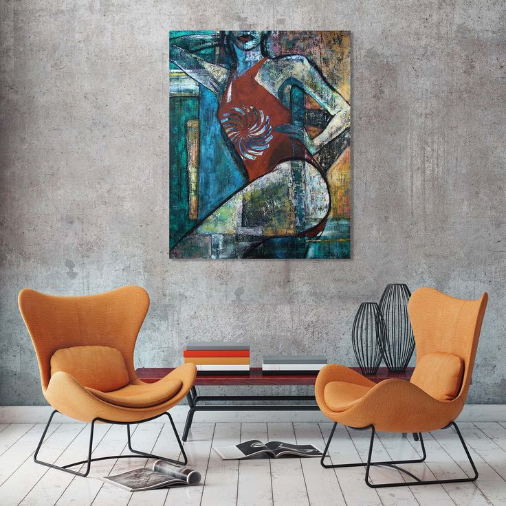 Orange Italian armchairs,  and contemporary painting of a woman - 'Summertime 1' by @anialuk_art.