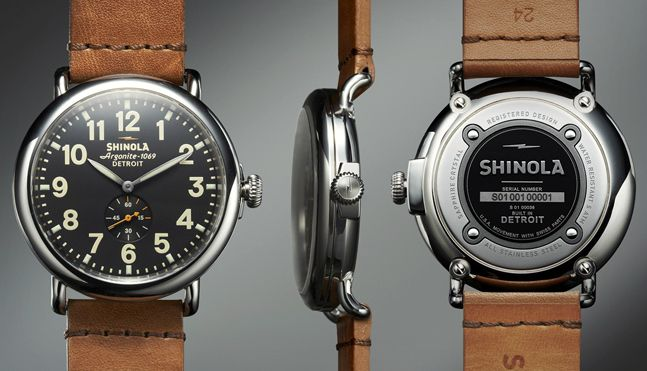 Shinola Runwell Watch – Horween leather strap, Swiss-made parts from Ronda AG,...