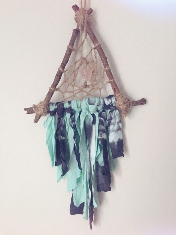 Natural dreamcatcher made of twigs, twine, tie dye trimmings and a rose quartz centre. http://www.longlostdreams.com.au/product/woodland-trip