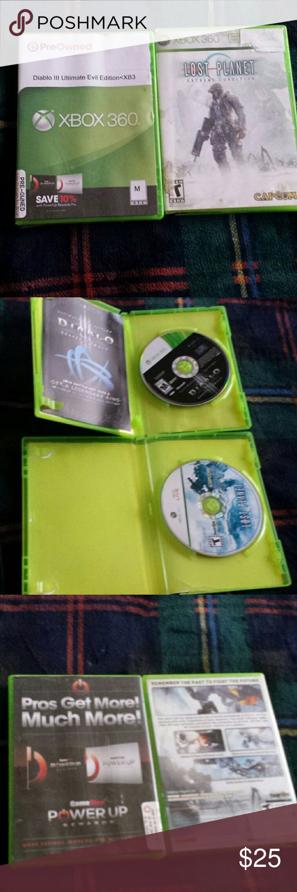 """Lost Planet & Diablo 3 Ultimate Evil Ed. Bundle. 2 game bundle for XBox 360. """"Lost Planet"""" XBox 360 Live,  and """"Diablo III Ultimate Evil Edition"""". Both games are used and both are in good working condition. XBox 360 Accessories"""