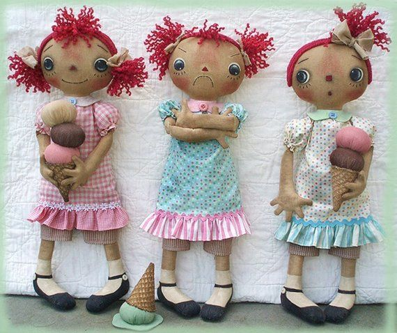 Primitive E-PATTERN Raggedy Dolls and Ice Cream Cones PDF